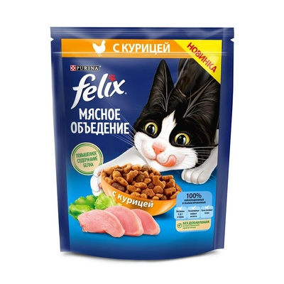 Felix Сухой корм для кошек Мясное объедение с курицей (12455366), 1,300 кг, 52746