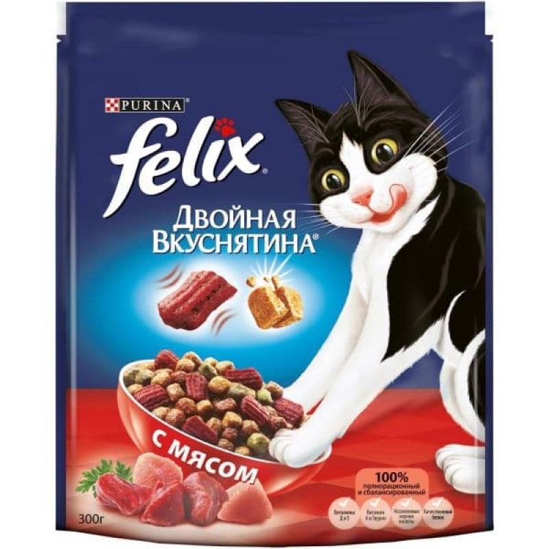 Felix Двойная Вкуснятина корм для взрослых кошек всех пород, мясо 300 гр