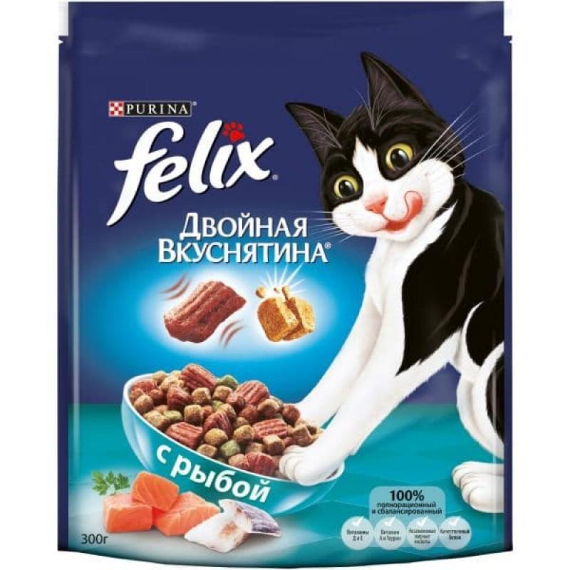 Felix Двойная Вкуснятина корм для взрослых кошек всех пород, рыба 300 гр