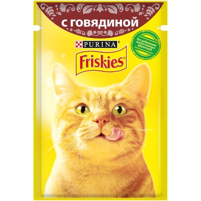 Friskies влажный корм для взрослых кошек всех пород, кусочки говядины в подливе 85 гр