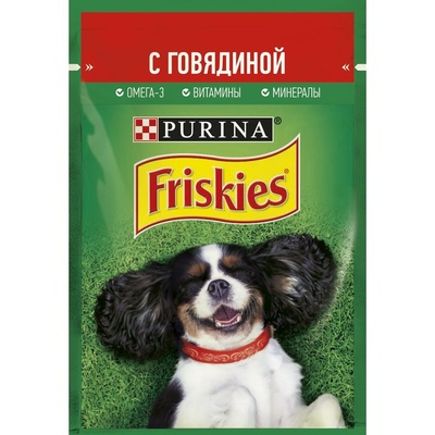 Friskies влажный корм для взрослых собак всех пород, кусочки в подливе, курица 85 гр
