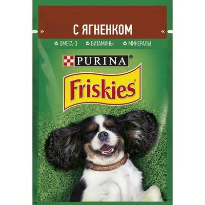 Friskies влажный корм для взрослых собак всех пород, кусочки в подливе, ягненок 85 гр