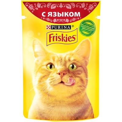 Friskies влажный корм для взрослых кошек всех пород, кусочки языка в подливе 85 гр