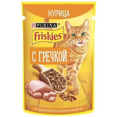 Friskies влажный корм для взрослых кошек всех пород, курица и гречка в подливе 75 гр