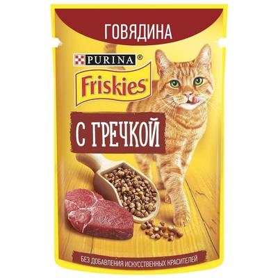 Friskies влажный корм для взрослых кошек всех пород, говядина и гречка в подливе 75 гр