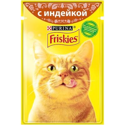 Friskies влажный корм для взрослых кошек всех пород, индейка в подливе 85 гр