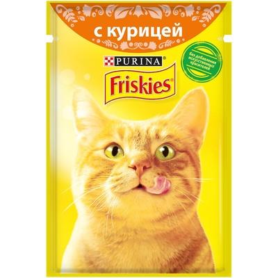 Friskies влажный корм для взрослых кошек всех пород, кусочки курицы в подливе 85 гр