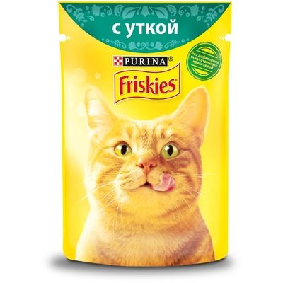 Friskies влажный корм для взрослых кошек всех пород, кусочки утки в подливе 85 гр