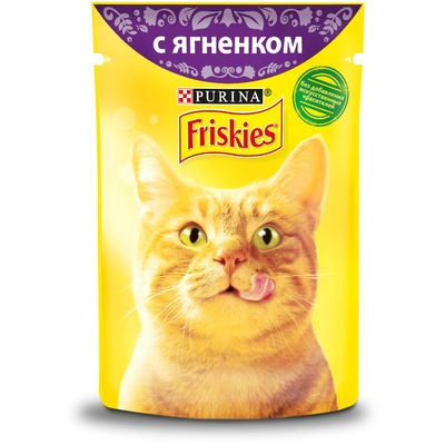 Friskies влажный корм для взрослых кошек всех пород, кусочки ягненка в подливе 85 гр