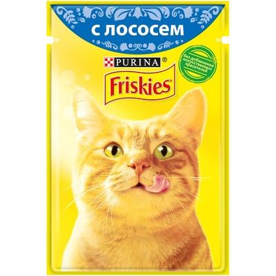 Friskies влажный корм для взрослых кошек всех пород, лосось в подливе 85 гр