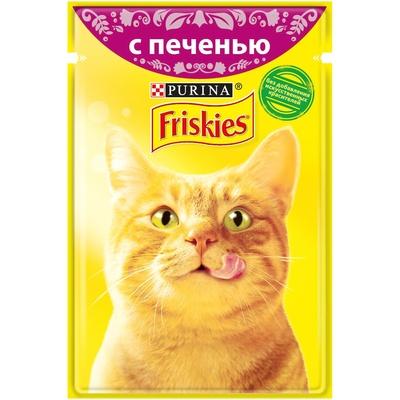 Friskies влажный корм для взрослых кошек всех пород, печень в подливе 85 гр