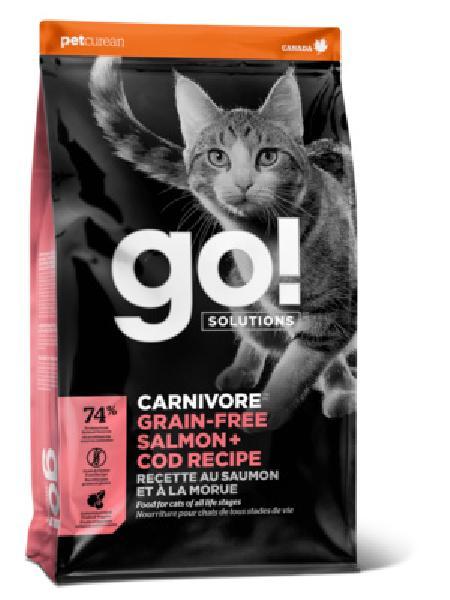GO! корм для котят и взрослых кошек всех пород, беззерновой, лосось и треска 3,63 кг