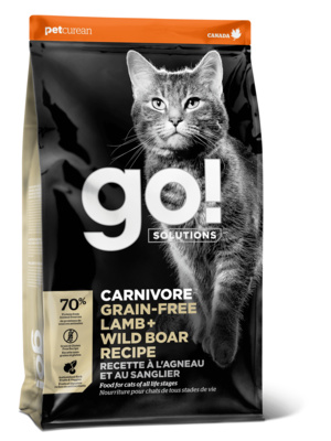 GO! корм для котят и взрослых кошек всех пород, беззерновой, ягненок и мясо дикого кабана 3,63 кг