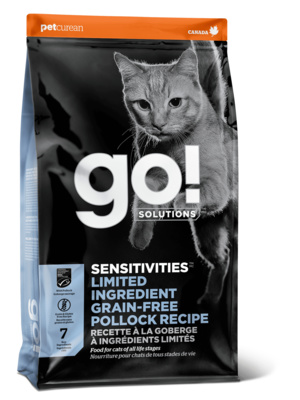 GO! ВИА Беззерновой для котят и кошек с чувств. пищеварением с минтаем (GO! SENSITIVITIES Limited Ingredient Grain FreePollock Recipe CF 30/15) 1303151, 1,360 кг, 37564