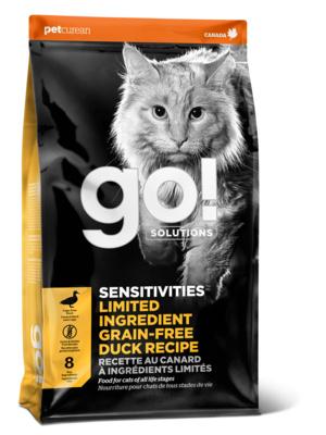 GO! корм для котят и взрослых кошек всех пород, деликатное пищеварение, свежая утка 7,26 кг