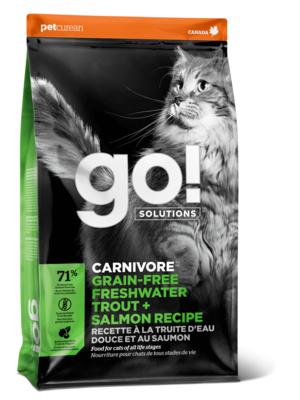 GO! корм для котят и взрослых кошек всех пород, деликатное пищеварение, форель и лосось 3,63 кг