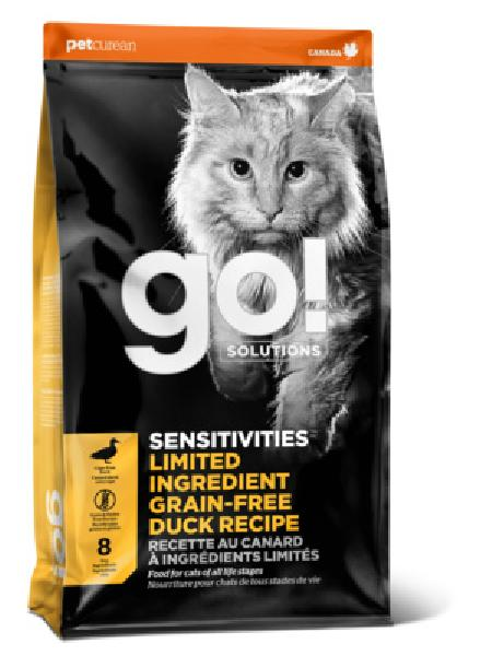 GO! корм для котят и взрослых кошек всех пород, деликатное пищеварение, свежая утка 1,82 кг (выведен)