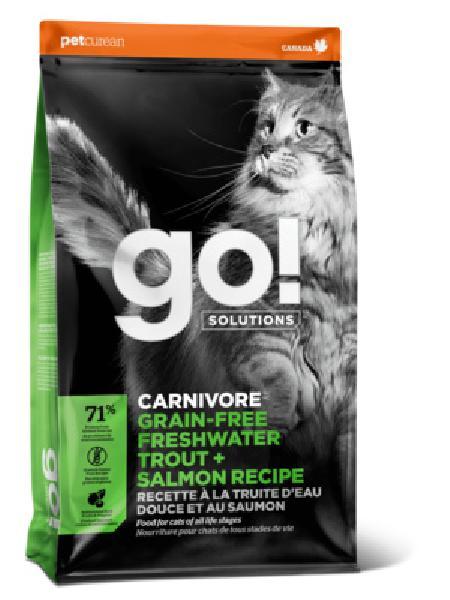 GO! корм для котят и взрослых кошек всех пород, деликатное пищеварение, форель и лосось 1,82 кг