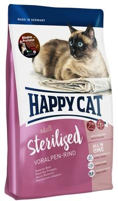 Happy Cat корм для взрослых и пожилых стерилизованных кошек всех пород, контроль веса, говядина 4 кг