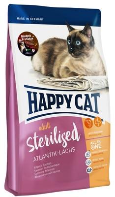 Happy Cat корм для взрослых и пожилых стерилизованных кошек всех пород, контроль веса, лосось 4 кг