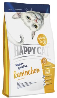 Happy Cat корм для взрослых кошек, чувствительное пищеварение, кролик, говядина, картофель, морковь 300 гр
