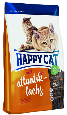 Happy Cat корм для взрослых кошек всех пород, атлантический лосось 1,4 кг