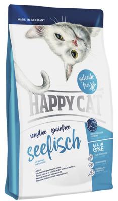Happy Cat корм для взрослых кошек, чувствительное пищеварение, морская рыба, птица, картофель, инжир 300 гр