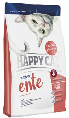 Happy Cat корм для взрослых кошек, чувствительное пищеварение, утка, рис, картофель и клюква 1,4 кг