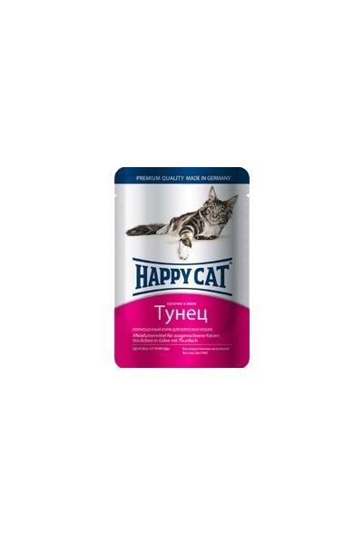 Happy Cat влажный корм для взрослых кошек всех пород, кусочки в желе, тунец 100 гр