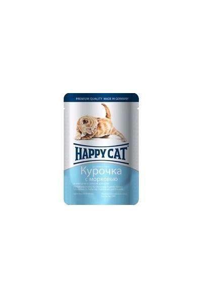 Happy Cat влажный корм для котят, кусочки в желе, курочка с морковью 100 гр
