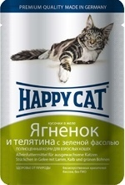 Happy Cat влажный корм для взрослых кошек, кусочки в желе ягненок и телятина с зеленой фасолью 100 гр