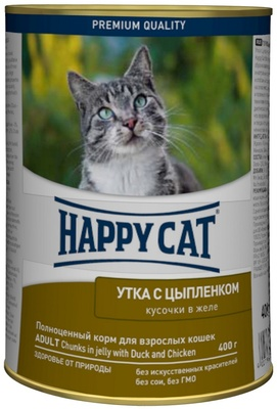 Happy Cat влажный корм для взрослых кошек всех пород, утка и цыпленок 400 гр