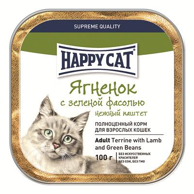 Happy Cat влажный корм для взрослых кошек всех пород, ягненок с зеленой фасолью 100 гр