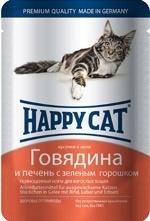 Happy Cat влажный корм для взрослых кошек, кусочки в желе, говядина и печень с зеленым горошком 100 гр