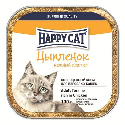 Happy Cat влажный корм для взрослых кошек всех пород, курица 100 гр