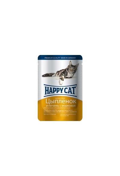 Happy Cat влажный корм для взрослых кошек всех пород, кусочки в желе, цыпленок с морковью 100 гр