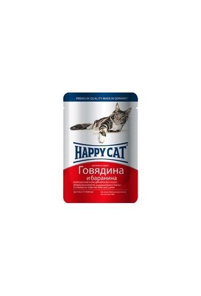 Happy Cat влажный корм для взрослых кошек всех пород, кусочки в желе, говядина и баранина 100 гр