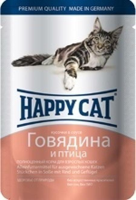 Happy Cat влажный корм для взрослых кошек всех пород, кусочки в желе, говядина и птица 100 гр