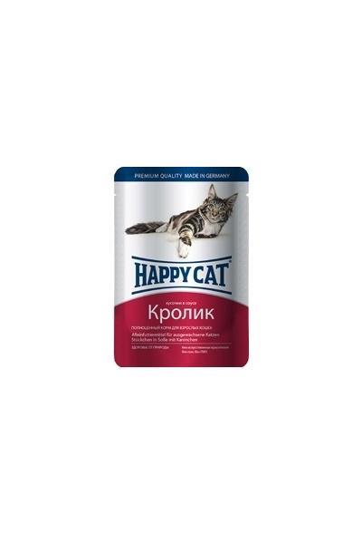 Happy Cat влажный корм для взрослых кошек всех пород, кусочки в желе, кролик 100 гр