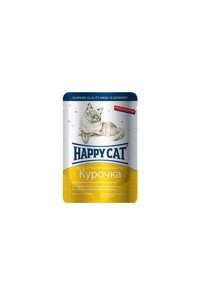 Happy Cat влажный корм для взрослых кошек всех пород, кусочки в желе, курица в яичном соусе 100 гр
