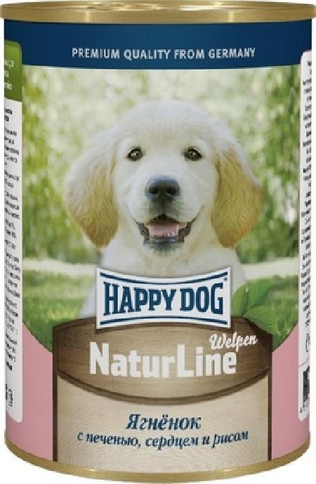Happy Dog влажный корм для щенков всех пород, ягненок с печенью, сердцем и рисом 400 гр