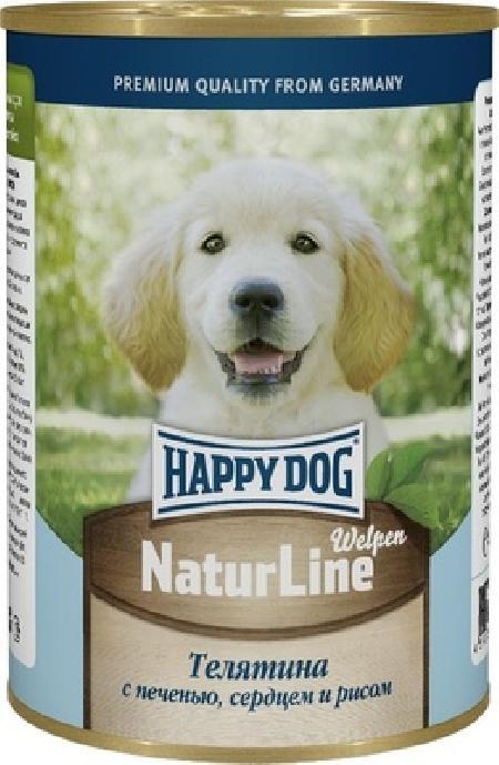 Happy Dog влажный корм для щенков всех пород, телятина с печенью, сердцем и рисом 400 гр