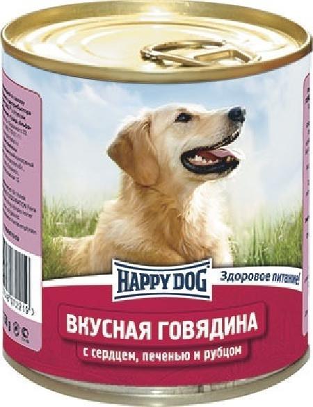 Happy Dog влажный корм для взрослых собак всех пород, говядина с сердцем, печенью и рубцом 750 гр