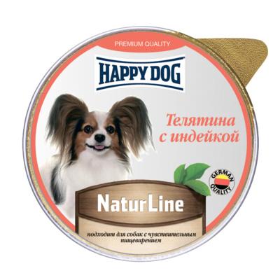 Happy Dog влажный корм для взрослых собак малых пород, телятина и индейка 100 гр
