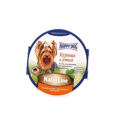 Happy Dog влажный корм для взрослых собак всех пород, курица и утка 85 гр