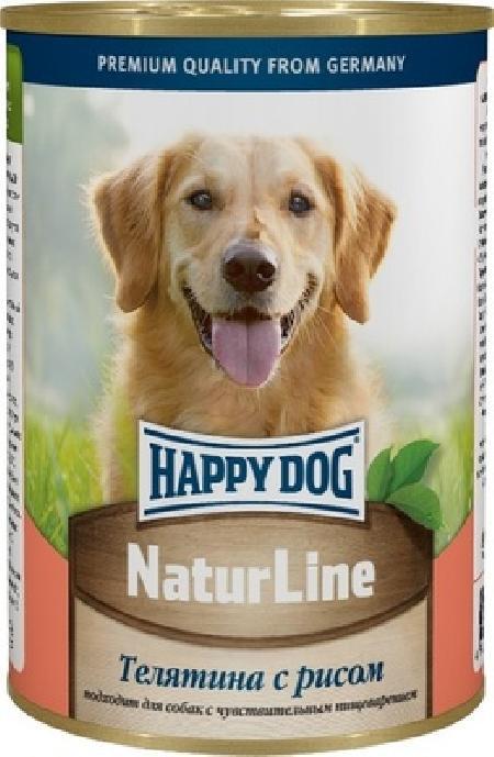 Happy Dog влажный корм для взрослых собак всех пород, с телятиной и рисом 400 гр