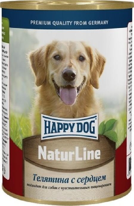 Happy Dog влажный корм для взрослых собак всех пород, с телятиной и сердцем 400 гр