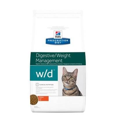 Hills Diet w/d корм для взрослых кошек всех пород с избыточным весом, диабетом, с курицей 1,5 кг