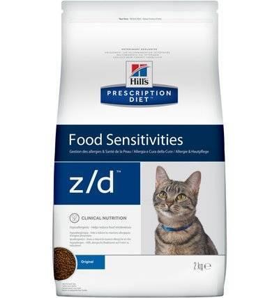 Hills Diet z/d корм для взрослых и пожилых кошек всех пород при пищевой аллергии 2 кг