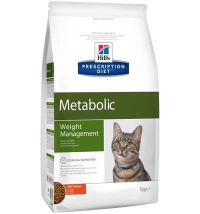 Hills Diet Metabolic корм для кошек всех пород, поддержание оптимального веса, курица 4 кг